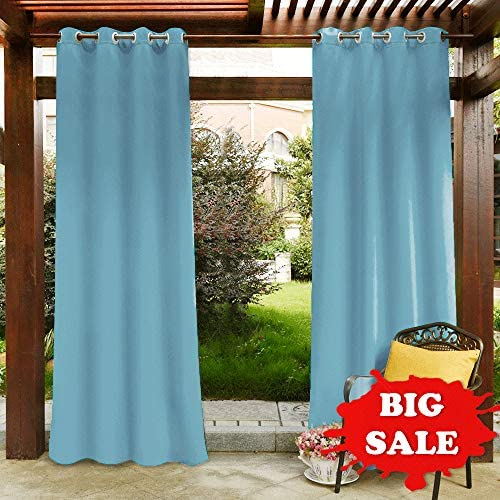 PONY DANCE Outdoor Curtain Panels – Patio Garden Home Decoration Fade Resistant Grommet Top Blackout Curtains Drapes Heavy-Duty Water Repellent, 52 x 95 in, Light Blue, Set of 1