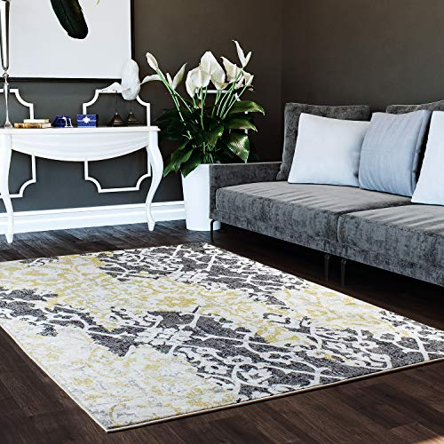 Super Area Rugs 3 x 5 Area Rug Yellow & Gray Tribal Ikat Rug for Foyer Entry Way Scatter Dining Room Transitional Vintage Distressed Design [ 3' 3