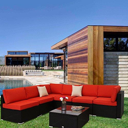 Kinbor 7 PCs Garden Furniture PE Rattan Wicker Outdoor Sofa Sectional Furniture Cushioned Deck Couch Set,Orange Cushion (Orange Garden Furniture)