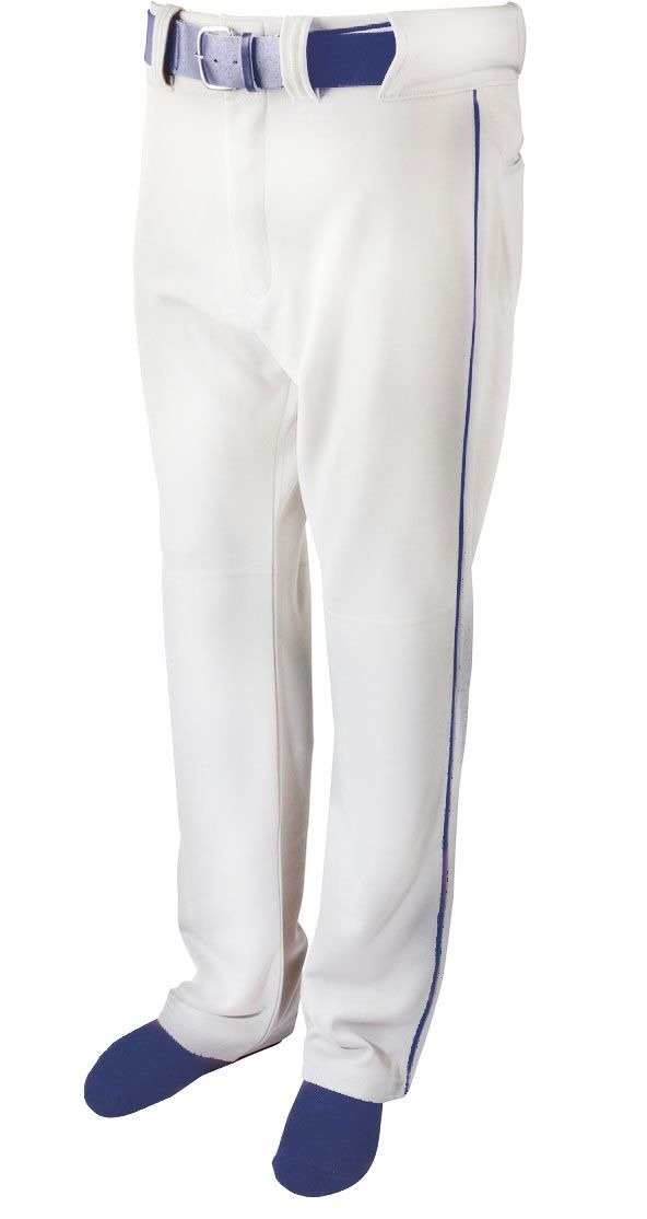 Martinスポーツ大人用野球/ソフトボールベルトループパンツ、ホワイトwithカラー配管 B079YYJZDCNavy Blue Piping Adult Small