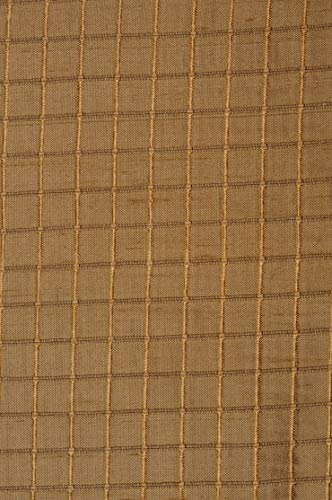 Dark Gold Silk Shantung Windowpane 54