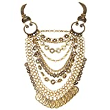 BriLove Women's Fashion Ethnic Multi Layers Dangle Chain Carved Coin Cameo Neckalce Antiqued Gold-Tone