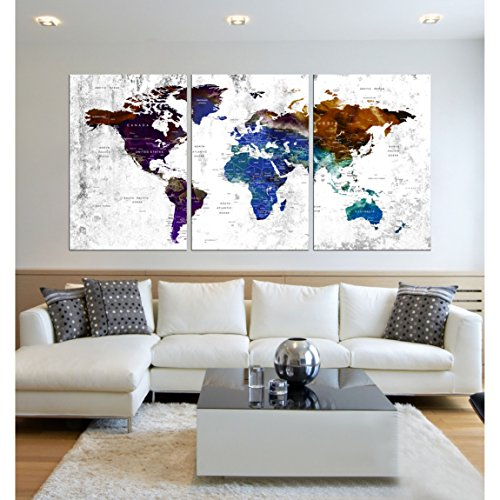 Visual Art Decor Large Watercolor push pin World Map Wall Art Canvas Prints Creative Map Painting Poster Prints Home Wall Decor Ready to Hang hr85 by worldwallartshop
