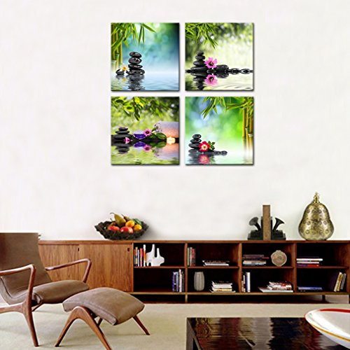 4 Panels Wall Art Canvas Prints Stones Flowers and Bamboo on Water SPA Still Life Modern Artwork Stretched and Framed for Home Living Room Decoration (30cmx30cmx4pcs) by MOCO ART (Image #5)