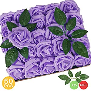 AmyHomie Pack of 50 Real Looking Artificial Roses w/Stem for DIY Wedding Bouquets Centerpieces Arrangements Party Baby Shower Home Decorations 105