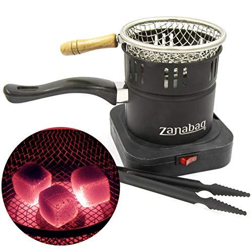 Zanabaq Hochwertiger Shisha Kohleanzünder mit Kohlekorb, elektrischer Kohlegrill mit Zange, Kohle schnell anzünden und…