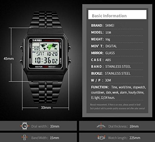Men's Watch Black Multifunction Steel Belt Wrist Watches Classic Gifts Fashion Waterproof by FIZILI (Image #2)