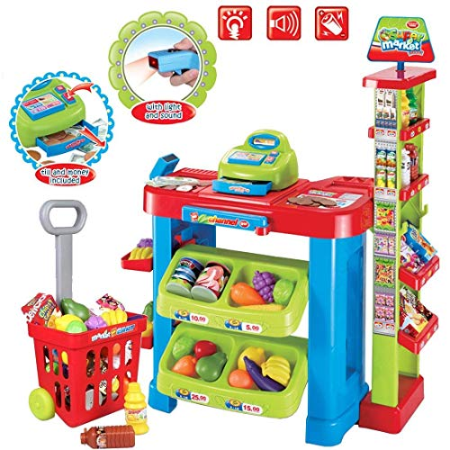 deAO Supermarket Kids Market Stall Toy Shop with Shopping Trolley and Play Food ()