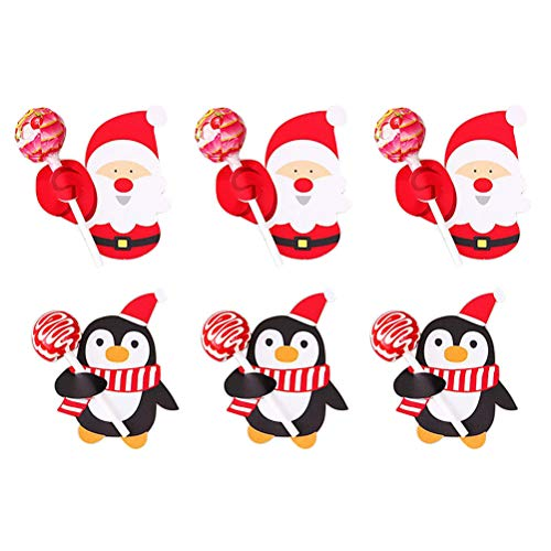 Toyvian 56 Pcs Santa Claus Penguin Lollipop Christmas Card Lollipop Cards Chocolate Paper Card Xmas Birthday Party Toys - 32x Penguins + 24 Santa Claus