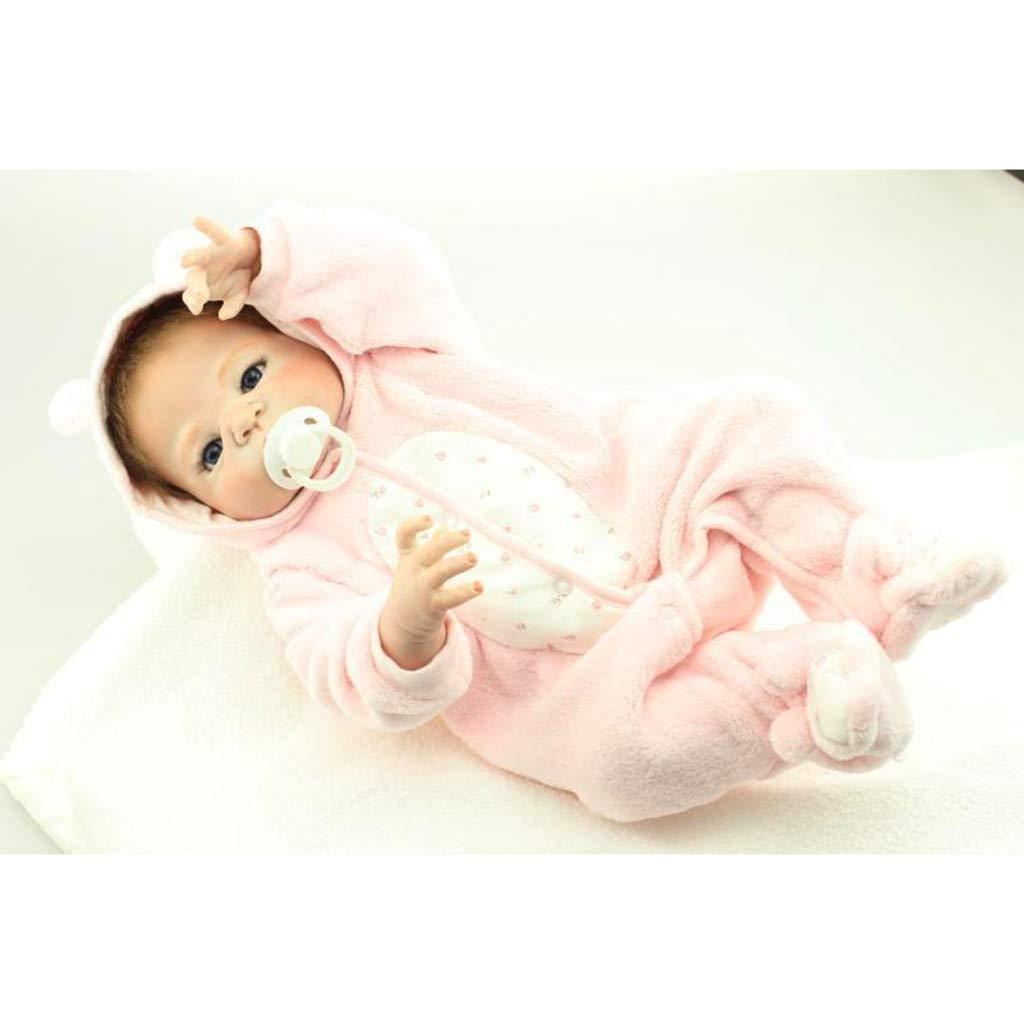 Lsrryd Pink 23' Nurturing Dolls Handmade Soft Silicone Vinyl Newborn True Looking Lifelike Reborn Baby Doll Free Magnet Pacifier Dummy