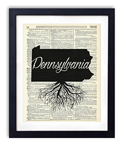 Pennsylvania Home Grown Upcycled Vintage Dictionary Art Print 8x10