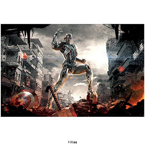 Avengers Age of Ultron, Ultron with Foot on Iron Man Helmet and Thor's Hammer and Captain America's Shield 8 X 10 Inch Photo