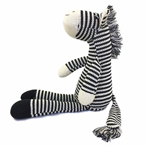 Ice King Bear Hand Knitted Zebra Stuffed Animal Plush Toy 16 Inches Length