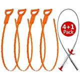 #9: Fitnate 5 in 1 Drain Cleaner Tool With 4 Drain Auger Snake&1 Stainless Steel Claw-action Grabber Cleaner For Drain, Sink ,Bathtub And Toilet - Hook Catcher Unclogger and Auger Plumbing, 4x20