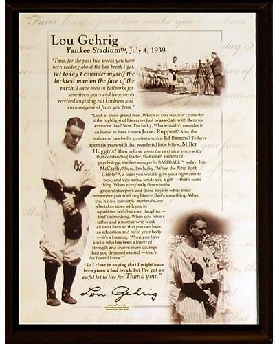 Lou Gehrig Memorabilia - Lou Gehrig Speech 8x10 Plaque