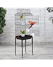 Bird cage parrot cage 64 inch open top vertical parrot cage accessories with detachable rolling stand, suitable for small and medium-sized cockatiel parrot love bird canary pet storage rack flying bird cage