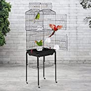 Bird cage parrot cage 64 inch open top vertical parrot cage accessories with detachable rolling stand, suitabl