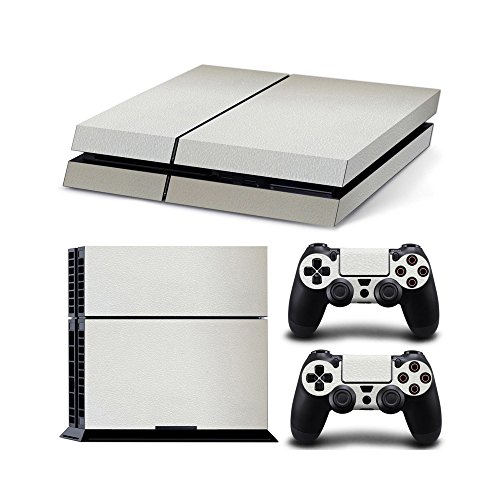Gam3Gear Vinyl Sticker Pattern Decals Skin for PS4 Console & Controller- Leather White
