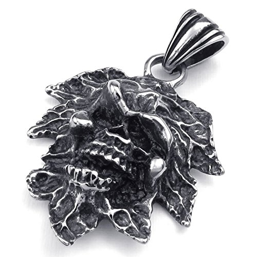 Maple Jewelry Armoire (Aokarry Men's Stainless Steel Necklace Skull Gothic Pendant Maple Leaf Necklace Vintage 20 Inch)