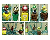Nintendo Super Mario Brothers 5 Piece Game Scene Christmas Tree Holiday Mini Ornament Set Featuring 2.5