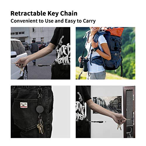Retractable Key-Chain Badge Reel - Heavy Duty Key Holder Ring with Carabiner,Steel Cable,3 Quick Release Clips,Keychain for Work,Janitor,Black,2PCS