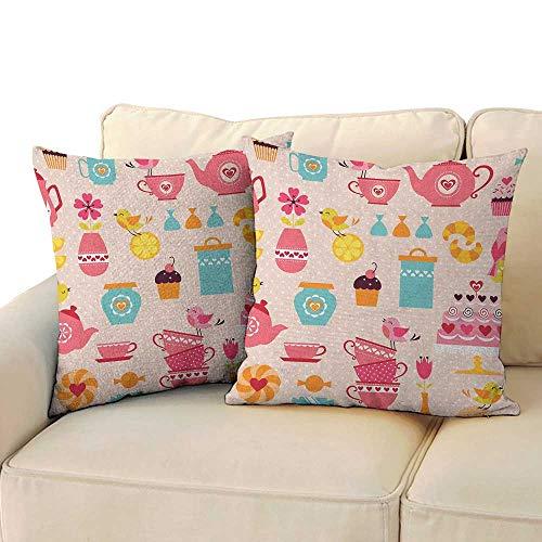 Sugar Plum Bench Seat - Ediyuneth Spring Throw Pillow Cushion Cover Tea Party,Cute Tea Time Elements Funny Cartoon Birds Hearts Love Imagery Cake and Sugar, Multicolor 18