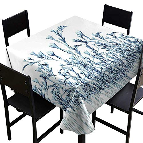 (Warm Family Xray Flower Flow Spillproof Fabric Tablecloth Various Sized Flowers in Nature Bottom to Top X-ray Image Creative Decorative Art for Kitchen Dinning Tabletop Decoration)