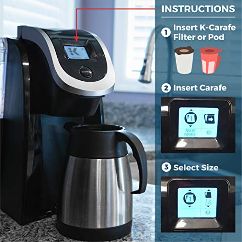 Essential Values Keurig 2 0 Thermal Carafe for Plus Models, 1L / 32oz  Capacity (4-5 Cups) Stainless Steel, Vacuum Insulated For Use With K-Carafe  Pods