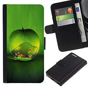 All Phone Most Case / Oferta Especial Cáscara Funda de cuero Monedero Cubierta de proteccion Caso / Wallet Case for Apple Iphone 6 PLUS 5.5 // Green Apple Fish Aquarium Gold Nature