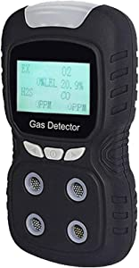 Portable Gas Detector, Gas Clip 4 Gas Monitor Meter Tester Analyzer, Rechargeable LCD Display Sound Light Shock Air Quality Tester, 2 Year Detector