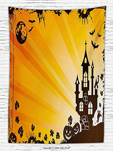 Halloween Decorations Fleece Throw Blanket Grunge Halloween Scene with Haunted Gothic Castle Bats Ghost Theme Pumpkins Throw Blanket for es Orange Black