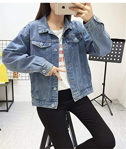 Donne Moda Primaverile Giacche Blau Cappotto Cose Vintage Donna Jacket Fresco Sciolto Jeans Giubbino Giaccone Giacca Outerwear Cerniera Di Stampati Pattern Classiche Autunno Con EgIw1Wq
