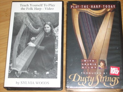 Set of (2) Video Instruction Tapes: PLAY THE HARP TODAY with Lauri Riley (1993) + TEACH YOURSELF TO PLAY THE FOLK HARP (1986) by Sylvia Woods