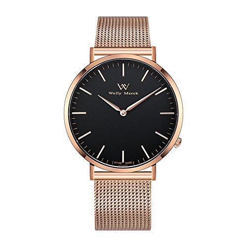 Welly Merck Men's Luxury Watch Minimalistic Quartz Movement Sapphire Crystal Analog Wrist Watch with Rose Gold Stainless Steel 20mm Width Mesh Interchangeable Strap, 98ft 30M 3ATM Water Resistant