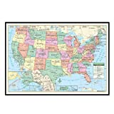 United States Primary Mounted Framed Wall Map Frame Color: Black