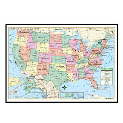 Amazon.com : United States Primary Mounted Framed Wall Map Frame ...