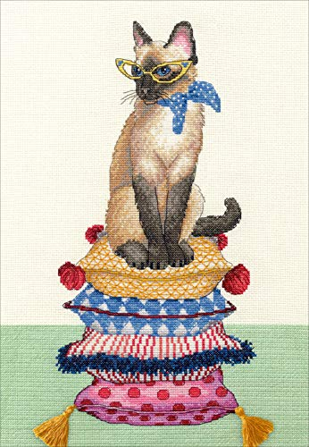 Dimensions 'Cat Lady' Counted Cross Stitch Kit, 14 Count Ivory Aida Cloth, 10'' x 14''.