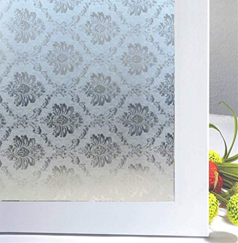 "Soqool Static Cling Window Film Decorative Window Covering for Home/Bathroom Glass Privacy Film 17.7"" by 78.7"", No Glue Vinyl Film Remove/Reuseable"