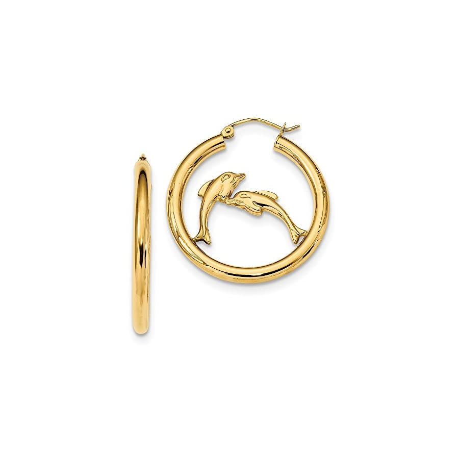 14K Yellow Gold Polished Dolphins Hoop Earrings