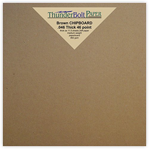 50 Sheets Chipboard 46pt (point) 6 X 6 Inches Heavy Weight Square Scrapbook Size .046 Caliper Thick Cardboard Craft and Packing Brown Kraft Paper Board by ThunderBolt Paper