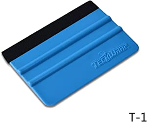 TECKWRAP Plastic Felt Edge Squeegee 4 Inch for Car Vinyl Scraper Decal Applicator Tool 1 pcs (with Black Felt Edge)