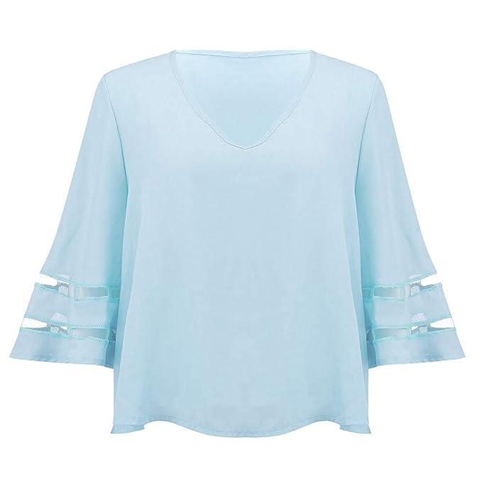 Amphia Camisa De Manga De Trompeta, Camisa con Cuello En V -Camisa De Costura
