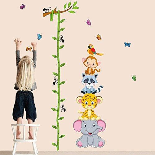 Animals Elephant Giraffe Height Measurement Wall Sticker - 3