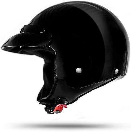 ATO 032 Classic Casco Jet en negro brillante - Muy Ligero - Actual Seguridad Norma ECE 2205 - Tamaño: S a XL: Amazon.es: Coche y moto