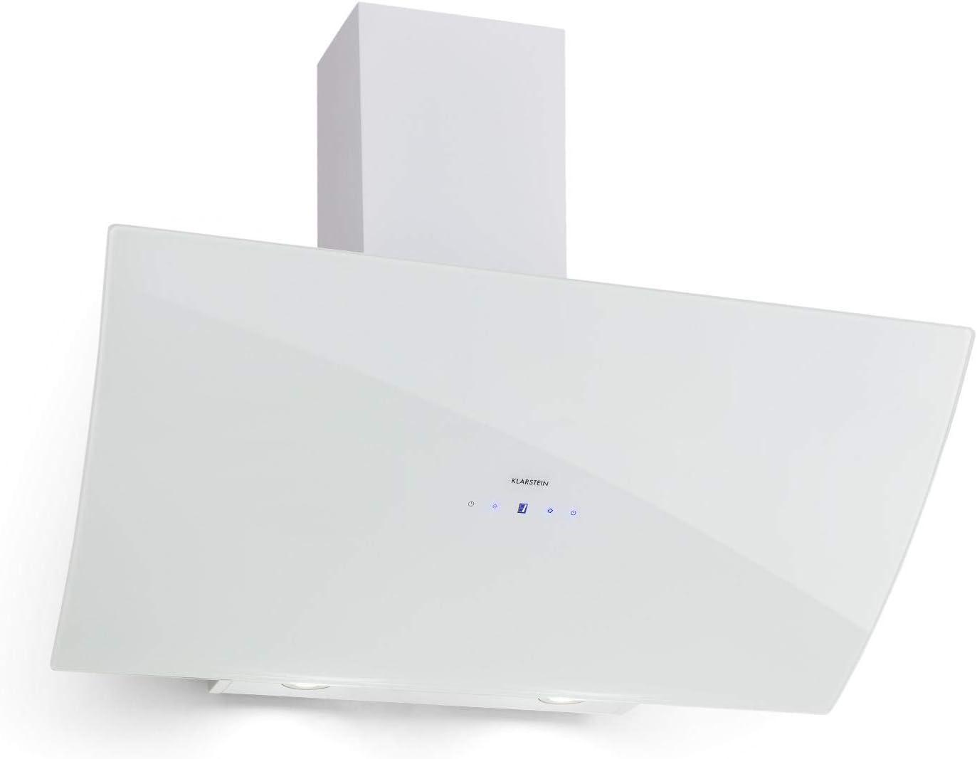 Klarstein Annabelle 90 Campana extractora - Extractor de humos de pared, Absorción y ventilación, Rendimiento de 650 m³/h, 230 W, Iluminación LED, Acero inoxidable, Panel táctil, Blanco: Amazon.es: Hogar