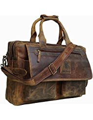 Devil Hunter 16 inch Vintage Buffalo Leather Messenger Satchel Laptop Briefcase Mens Bag Crazy Vintage Leather...