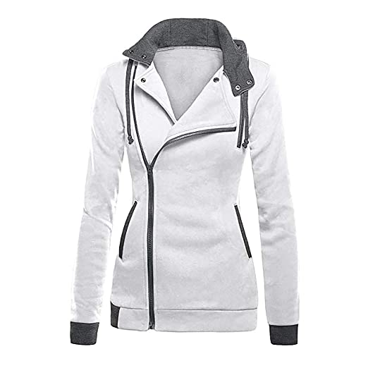 Mikkar Womens Oblique Zipper Slim Fit Hoodie Jacket Long Sleeve Bloe Coat Sweatshirt at Amazon Womens Clothing store: