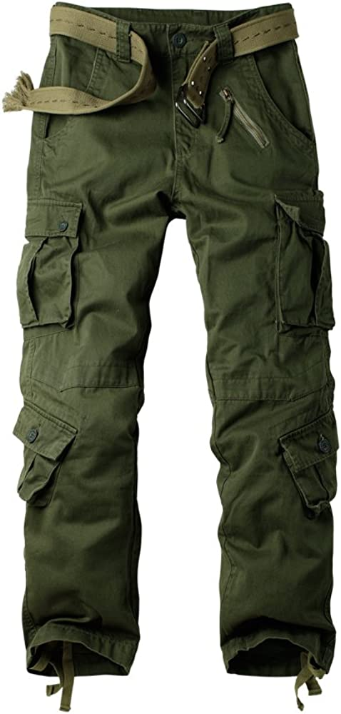 Mens Cotton Cargo Trousers Relaxed Fit Cotton Multi-Pocket Outdoor Cargo Pants