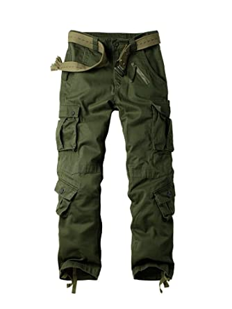 2fc19e5e7ddf49 OCHENTA Men's Cargo Regular Army Combat Trouser with 8 Pocket #3357 Army  Green 29