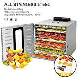Commercial Stainless Steel Food Dehydrator-Raw Food & Jerky Fruit Dehydrator-1000W Preserve Food Nutrition Professional Household Vegetable Dryer,with 0~24 Hours Digital Timer and Recipe (10 Trays)